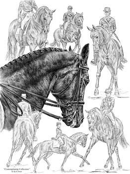 Kelli Swan - Contemplating Collection - Dressage Horse Drawing