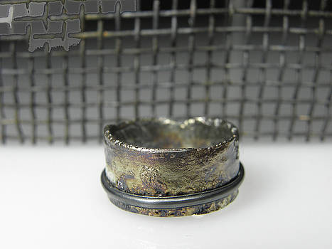 Contemporary Patinated Ring by Vesna Kolobaric