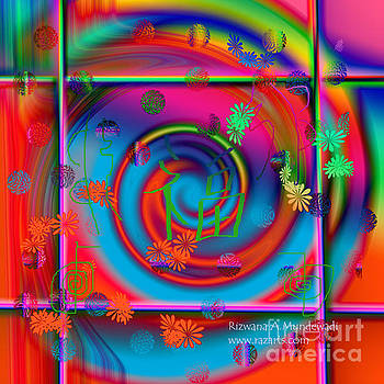 Contemporary Rainbow Swirl Goodluck by Rizwana Mundewadi