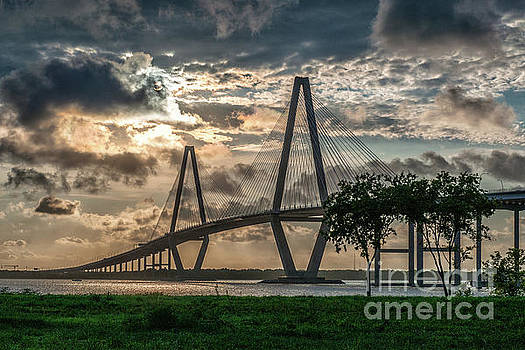 Contrasty Clouds over Cooper River Bridge  by Dale Powell