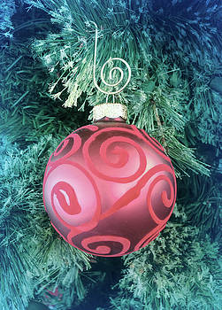 Aimee L Maher ALM GALLERY - Cool Blue Red Christmas Ornament
