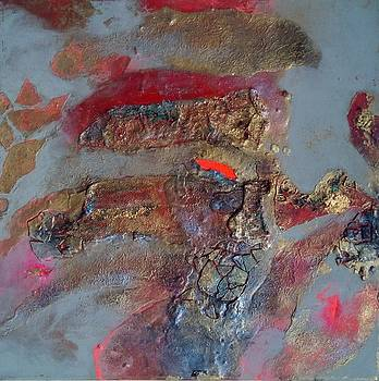 Cooling lava on gold surface by Lynda Stevens