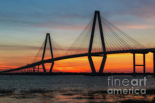 Cooper River Bridge Golden Sunset Hour by Dale Powell
