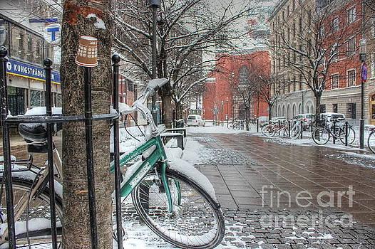 Copenhagen in the winter.a lonely bike by Yury Bashkin
