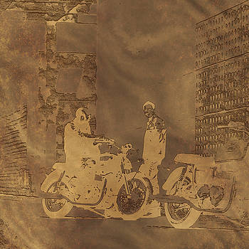 Copper Motorcycle Engraving by Radoslaw Kowzan