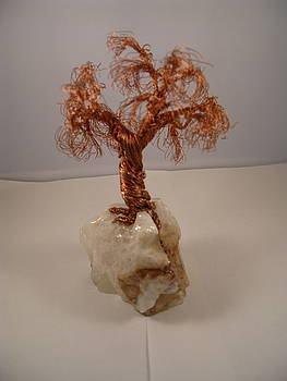 Copper Tree on Crystal by Judy Byington