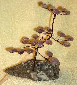 Copper Wire Bonsai Tree with Amethyst crytals by James Waligora