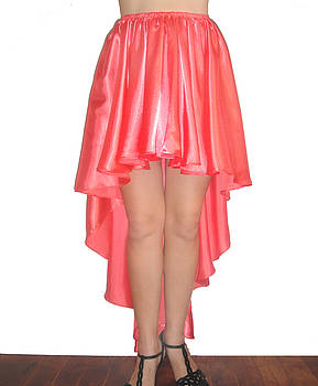 Sofia Metal Queen - Coral pink satin high low skirt with high slit. Ameynra simple line