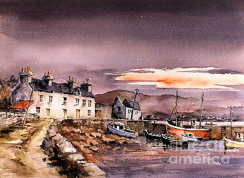 Val Byrne - Evening Glow on Coraun Harbour, Mayo