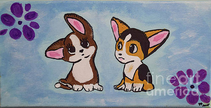 Corgi  Puppies Painting by Peggy Franz