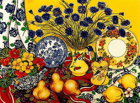 Richard Lee - Cornflowers with Teapot of Nasturtiums