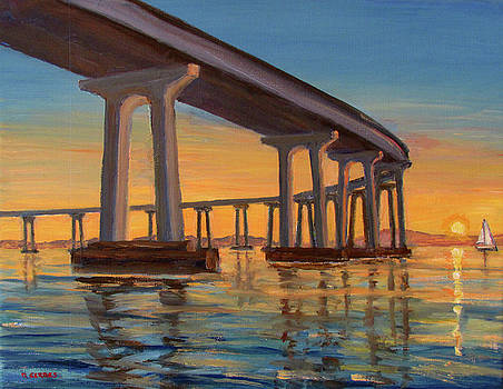 Coronado Bridge Sunrise by Robert Gerdes