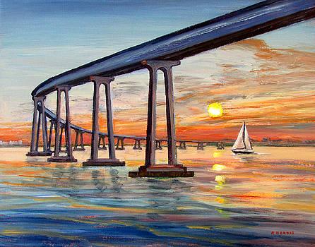 Coronado Bridge Sunset with Sailboat by Robert Gerdes