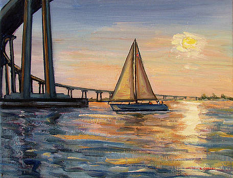 Coronado Bridge with Sailboat Sunset by Robert Gerdes
