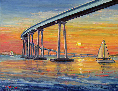 Coronado Bridge with Sailboats by Robert Gerdes