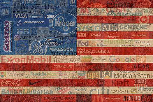 Corporate America Fortune 500 Companies USA Flag by Design Turnpike