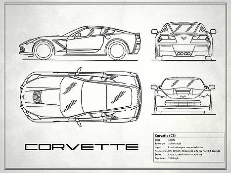 Mark rogan artwork collection car blueprint collection mark rogan corvette c7 blueprint in white malvernweather Choice Image