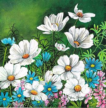 Cosmos and blue daisies by Val Stokes
