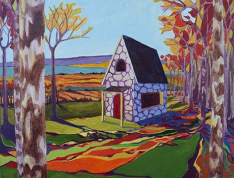 Cottage in the Woods Autumn by Karen Williams-Brusubardis