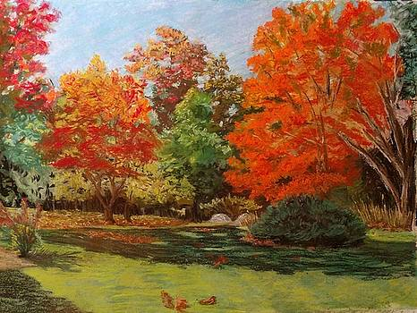 Cottage Lane, Autumn by John Prenderville