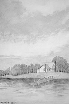 Cottage on Currituck Sound by Regina Calton Burchett