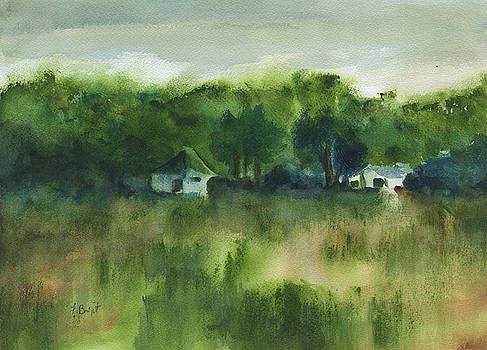 Cottages By The Field by Frank Bright