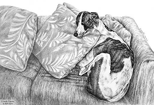 Kelli Swan - Couch Potato Greyhound Dog Print