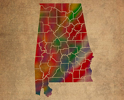 Design Turnpike - Counties Of Alabama Colorful Vibrant Watercolor State Map On Old Canvas