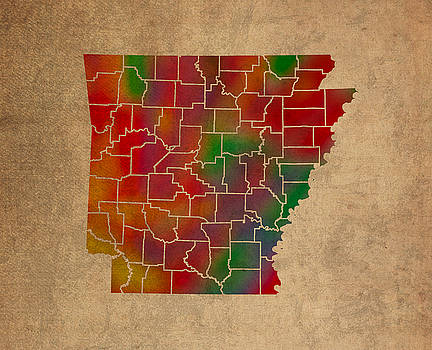 Design Turnpike - Counties Of Arkansas Colorful Vibrant Watercolor State Map On Old Canvas