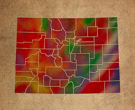 Design Turnpike - Counties Of Colorado Colorful Vibrant Watercolor State Map On Old Canvas