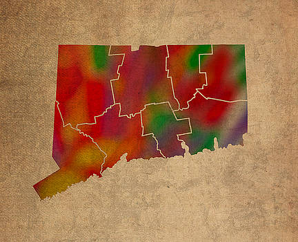 Design Turnpike - Counties Of Connecticut Colorful Vibrant Watercolor State Map On Old Canvas