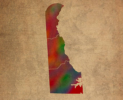 Design Turnpike - Counties Of Delaware Colorful Vibrant Watercolor State Map On Old Canvas