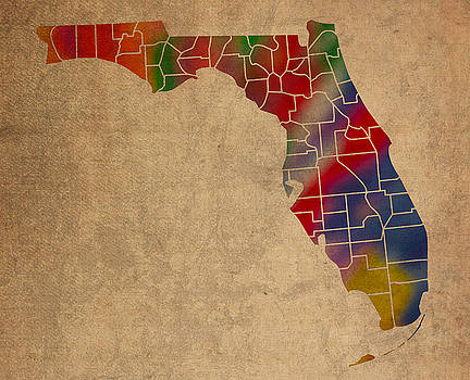 Design Turnpike - Counties Of Florida Colorful Vibrant Watercolor State Map On Old Canvas