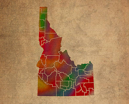 Design Turnpike - Counties Of Idaho Colorful Vibrant Watercolor State Map On Old Canvas