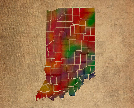 Design Turnpike - Counties Of Indiana Colorful Vibrant Watercolor State Map On Old Canvas