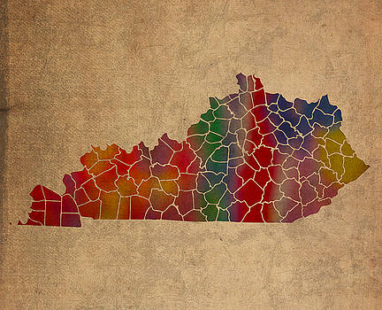 Design Turnpike - Counties of Kentucky Colorful Vibrant Watercolor Map on Old Canvas