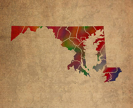 Design Turnpike - Counties Of Maryland Colorful Vibrant Watercolor State Map On Old Canvas