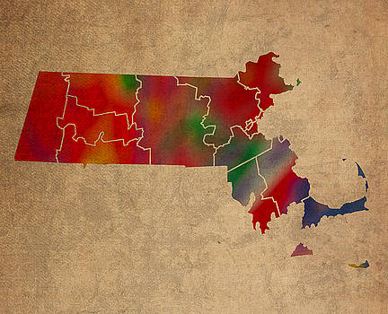 Design Turnpike - Counties Of Massachusetts Colorful Vibrant Watercolor State Map On Old Canvas