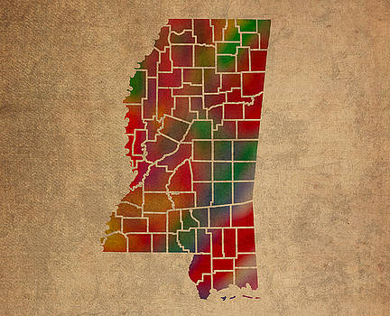 Design Turnpike - Counties Of Mississippi Colorful Vibrant Watercolor State Map On Old Canvas