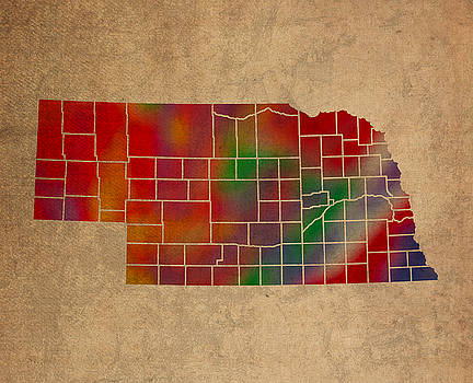 Design Turnpike - Counties Of Nebraska Colorful Vibrant Watercolor State Map On Old Canvas