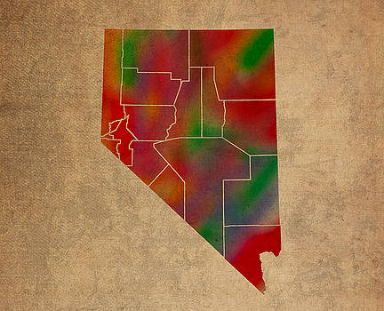 Design Turnpike - Counties Of Nevada Colorful Vibrant Watercolor State Map On Old Canvas