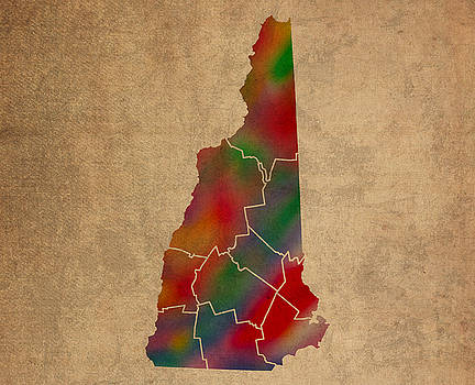 Design Turnpike - Counties Of New Hampshire Colorful Vibrant Watercolor State Map On Old Canvas