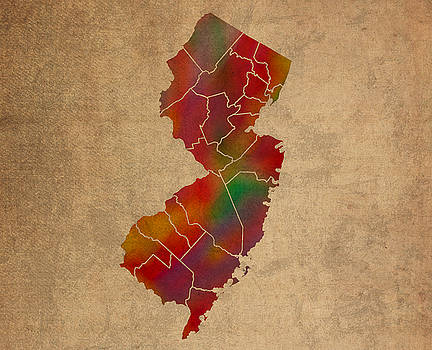 Design Turnpike - Counties Of New Jersey Colorful Vibrant Watercolor State Map On Old Canvas