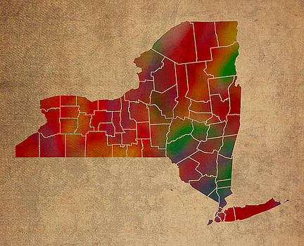 Design Turnpike - Counties Of New York Colorful Vibrant Watercolor State Map On Old Canvas