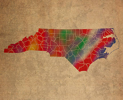Design Turnpike - Counties Of North Carolina Colorful Vibrant Watercolor State Map On Old Canvas