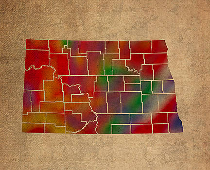 Design Turnpike - Counties Of North Dakota Colorful Vibrant Watercolor State Map On Old Canvas