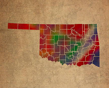 Design Turnpike - Counties Of Oklahoma Colorful Vibrant Watercolor State Map On Old Canvas