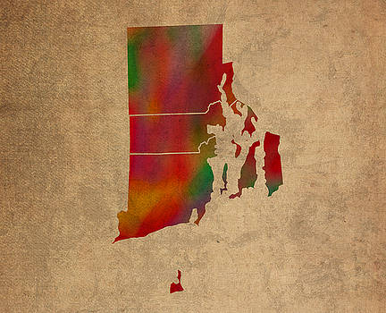 Design Turnpike - Counties Of Rhode Island Colorful Vibrant Watercolor State Map On Old Canvas