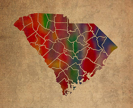 Design Turnpike - Counties Of South Carolina Colorful Vibrant Watercolor State Map On Old Canvas