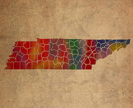 Design Turnpike - Counties Of Tennessee Colorful Vibrant Watercolor State Map On Old Canvas
